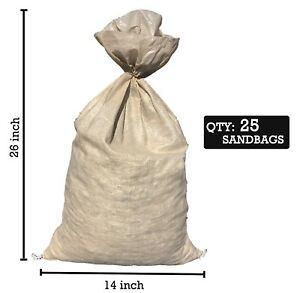 Details About Sandbaggy 25 Beige Empty Sandbags For 14x26 Sandbag Sand Bags Bag Poly