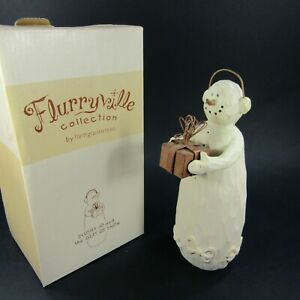 Flurryville-Slushy-Jo-amp-Gift-of-Snow-Christmas-Wood-Carved-Figurine-8-034-Snowman