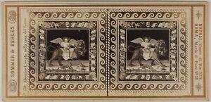 Pompei-Mosaico-Italia-Sommer-amp-Behles-Foto-Stereo-L53S1n29-Vintage-Albumina