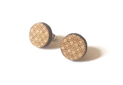 Madera pendientes zigzag aretes círculo natural hecho a mano ola geo marrón plateado