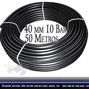 Presi/ón m/áxima 10 bar. color negro Tuber/ía polietileno agricola Suinga 50 mm x 50 m