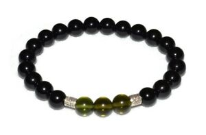 Moldavite-Black-Tourmaline-Bracelet-Natural-Stones-8mm-Beads-Energy-Balance