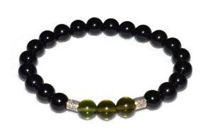 Moldavite-Black-Tourmaline-Bracelet-Natural-Stones-8mm-Beads-Energy-Balance