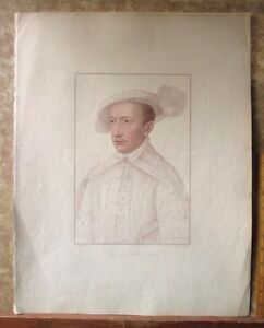 Vintage-HOLBEIN-Engraving-CLAUDE-XVII-COUNT-DeLAVAL-C-1794-Bartolozzi