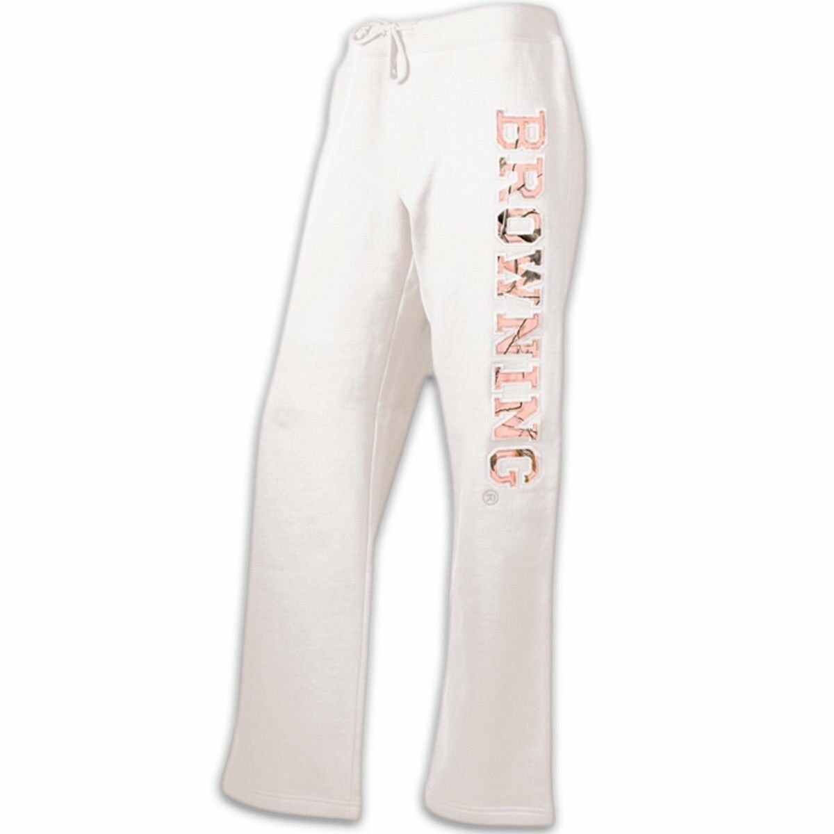 Womens NWT Browning Realtree Pink Camo White Relaxed Fit Sweatpants S-XL
