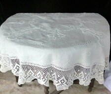 BEAUTIFUL Antique FRENCH Linen Embroidered & Crochet Round Tablecloth