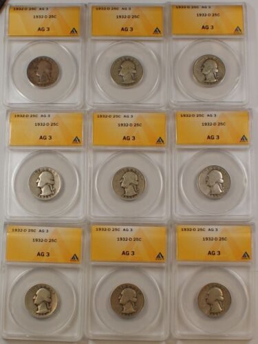 *PRICE FOR ONE COIN ONLY* ANACS AG-3 1932-D Silver Washington Quarter