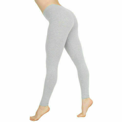 Women Cotton Pants White Black Solid Color Stretchy  Casual Yoga Leggings Skinny