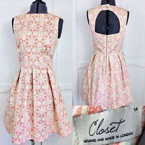 Closet London Skater Dress Size Uk 14 Pleats Pockets Boat Neck Cotton Summer Ebay