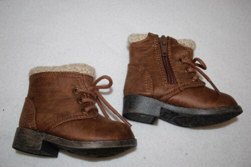 Baby Girls BROWN WINTER FASHION BOOTS Crochet Trim Top LACE UP /& ZIPPER Size 3