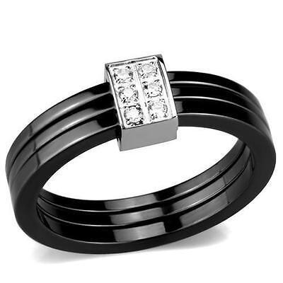 Keramik Damenring mit Zirkonia Onyx Black Ring Edelstahl Ceramic weiß CER953