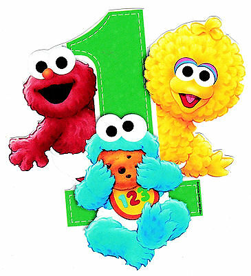 "2.5/""-5/"" Sesame street babies first 1st birthday heat transfer iron on character"