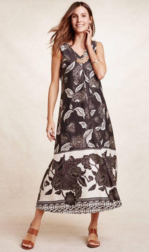 NEW Anthropologie Floreat Soha Maxi Dress Charcoal & Cream Floral  Sz S