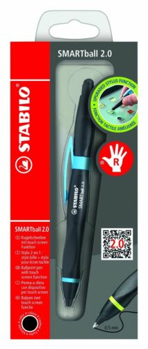BLACK ink Stabilo Smartball  Pen with Touch Screen Left Handed Right