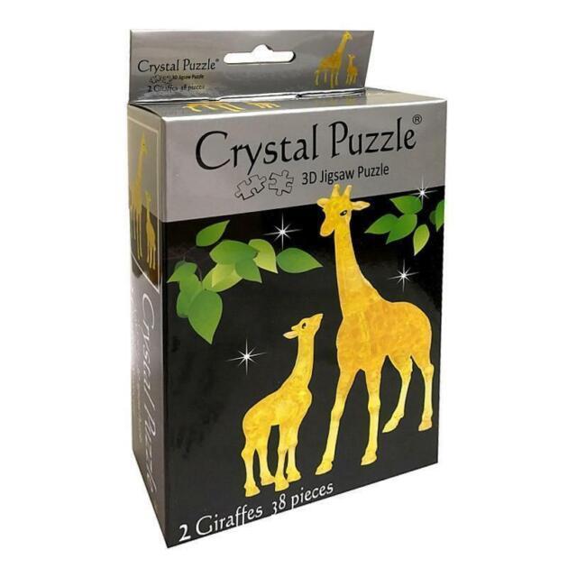 331109 2 GIRAFFES 3D CRYSTAL PUZZLE JIGSAW 38 PIECES FUN DISPLAY GIFT IDEA