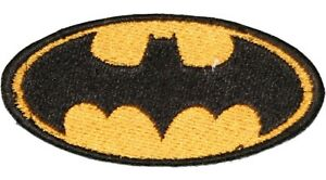 """BATMAN Logo Iron On Embroidered Applique TV & Movie Characters Gold & Black 3"""""""