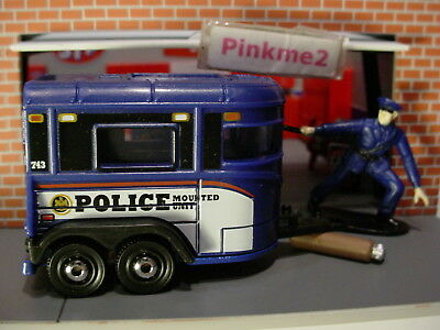 2018 POLICE TEAM Design PONY TRAILER☆Blue; MOUNTED UNIT; disc☆Matchbox LOOSE
