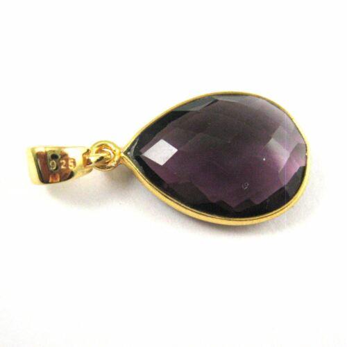 Amethyst Quartz Bezel Gemstone Teardrop Pendant with Bail,22K Gold plated Silver