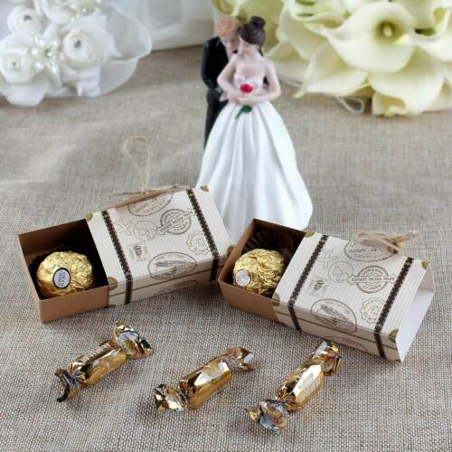 50//100xVintage Mini Suitcase Gift Box Sweets Candy Box Wedding Favours for Guest