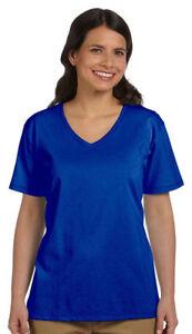 Hanes-Women-039-s-Short-Sleeve-ComfortSoft-V-Neck-Cotton-T-Shirt-Pack3-5780