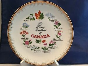The-Flower-Emblems-Of-Canada-Collector-Plate-GC-Fine-China-Vintage
