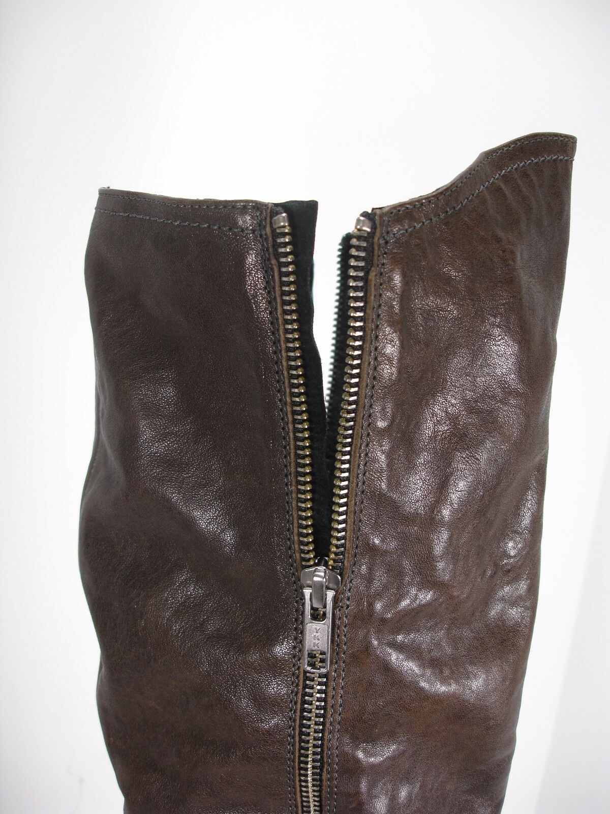 VIC BROWN LEATHER PULL ON 1/4 SIDE WOMEN'S ZIP KNEE HIGH Stiefel WOMEN'S SIDE 38.5 MINT e8504a