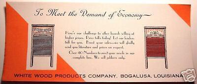 BOGALUSA LOUISIANA WHITE WOOD PRODUCTS WASH BOARD ADVERTISING BLOTTER