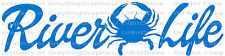 River Life Crab Vinyl Decal Fishing Sticker Fish Car Crabbing Crabs Auto Boat