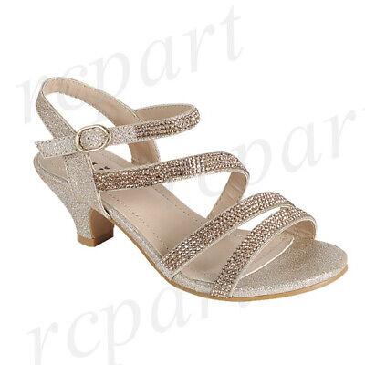 New girl/'s kids beads formal dress wedding shoes champagne gold rhinestones