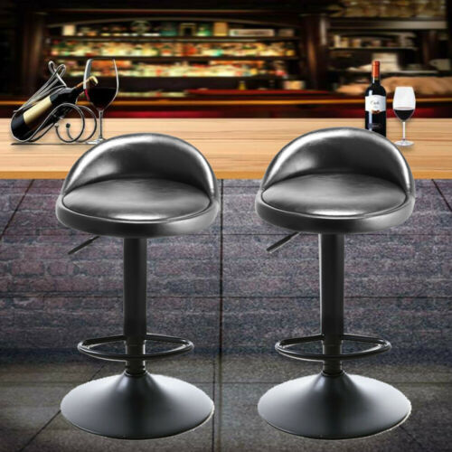 2× Bar Stools Leather Chair Breakfast Chairs Swivel Gas Lift Kitchen Cushioned L