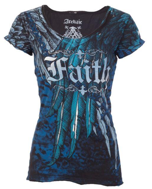 Archaic AFFLICTION Womens T-Shirt FAITH Wings Tattoo Biker UFC Sinful S-XL $40 b