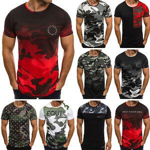 Ozonee-athletic-1099-senores-t-shirt-manga-corta-camuflaje-motivo-slim-fit-camisa-Mix
