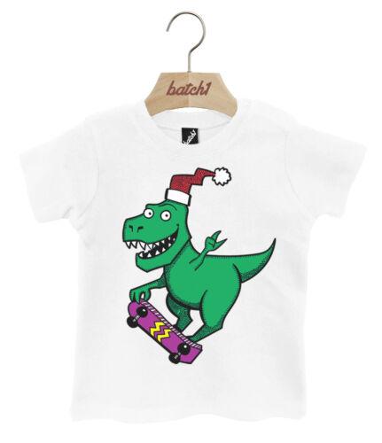 Lot 1 skateboarding dinosaure noël festif popper cou bébé noël t-shirt