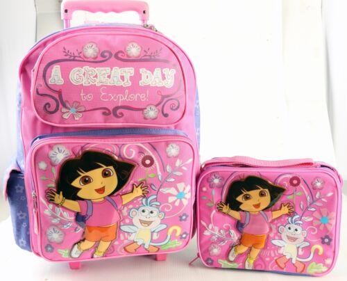 Dora the Explorer Large Rolling Backpack Lunch Bag 2 Pc Sets