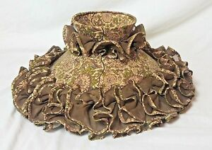 VICTORIAN-Replacement-Hurricane-Chimney-Lamp-Shade-Brown-Linen-amp-Floral-Ruffles