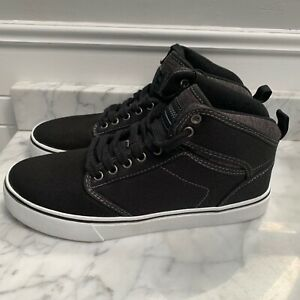 NEW-Mens-Canvas-High-Top-Skate-Shoes-Black-White-Sneakers-Size-8