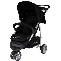 St712 Crown Pushchair 3 Wheel Buggy Sport Jogger Colour Black Model 2016