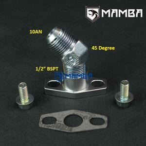 Details about 45 Deg 10AN Turbo Oil Return Drain Flange Kit HKS GT3040  GT3540 Garrett GT3082R