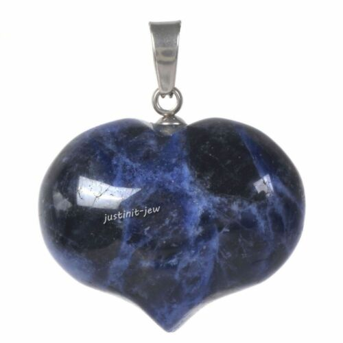 25mm Rock Gemstone Healing Crystal 1 inch Puffy LOVE Heart Pendant Focal Bead