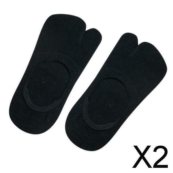 2X 1 Paar Flip Socks Tabi Split Toe Two Toe Rutschfeste flache versteckte Socken