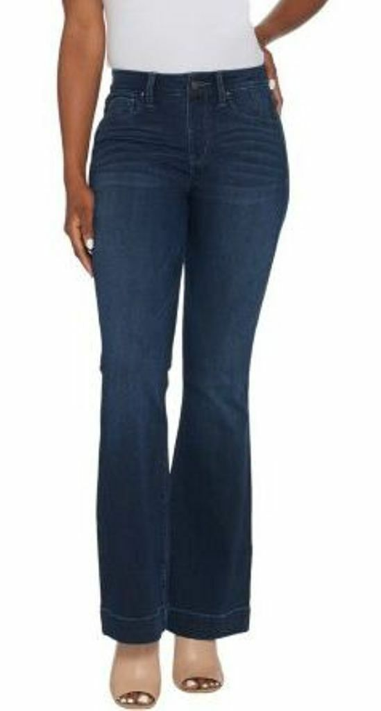 New Laurie Felt Regular Silky Denim Flare Pull-On Jeans Size 1X Tall Dark Wash