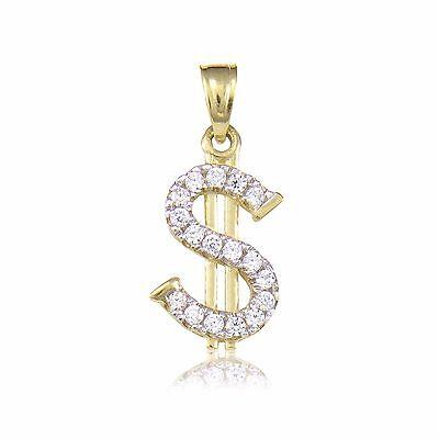 14k Yellow Gold Dollar Sign $ Money Charm Pendant 0.6gram