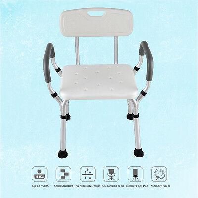 LightWeight Adjustable Medical Shower Chair Bench  Arm rest Aid Stool Bath Seat