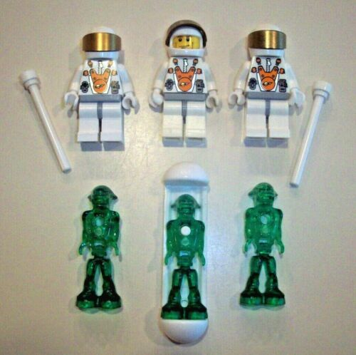 Lego Minifigure Space Lot  ~ Mars Mission Astronauts /& Green Martians With Pod