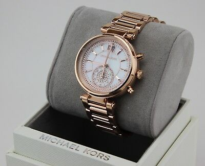d5682f0577cd NEW AUTHENTIC MICHAEL KORS SAWYER CRYSTALS ROSE GOLD WOMEN S MK6282 WATCH