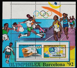 Nigeria-297-1992-Olymphilex-m-sheet-MAJOR-PERF-ERROR-unmounted-mint