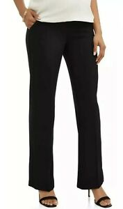 Plus-Size-Maternity-Career-Pants-Sz-1X-Black-Work-Demi-Belly-Panel-Flared-NEW