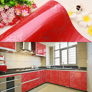 Image Is Loading Red Gloss Peony Kitchen Cupboard Unit Cover Vinyl