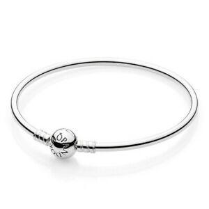 Details about Pandora Moments Sterling Silver Charm Bangle 21CM - 590713-21