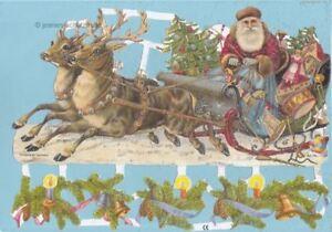 Oblaten, Glanzbilder, Scrap Weihnachtsmann mit Schlitten EF7194Gs,  mit Glitter